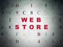 Concetto di sviluppo Web: Deposito di web sul fondo della carta di dati di Digital Fotografia Stock Libera da Diritti