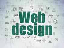 Concetto di sviluppo Web: Web design sul fondo della carta di dati di Digital Fotografia Stock Libera da Diritti