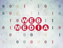 Concetto di sviluppo Web: Media di web sul fondo della carta di dati di Digital Fotografia Stock