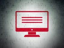 Concetto di sviluppo Web: Monitor sul fondo della carta di dati di Digital Fotografie Stock Libere da Diritti