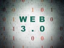 Concetto di sviluppo Web: Web 3 0 sul fondo della carta di dati di Digital Immagini Stock Libere da Diritti