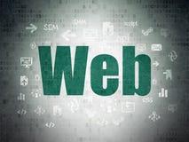 Concetto di sviluppo Web: Web sul fondo della carta di dati di Digital Immagini Stock