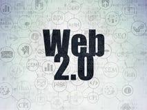 Concetto di sviluppo Web: Web 2 0 sul fondo della carta di dati di Digital Fotografia Stock