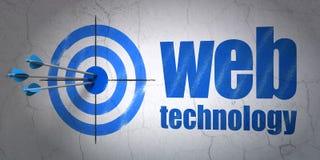 Concetto di sviluppo Web: tecnologia di web e dell'obiettivo sul fondo della parete Fotografie Stock Libere da Diritti