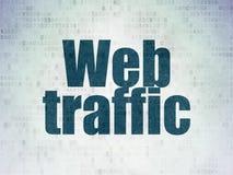 Concetto di sviluppo Web: Traffico di web sul fondo della carta di dati di Digital Immagine Stock Libera da Diritti