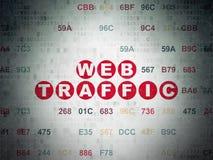 Concetto di sviluppo Web: Traffico di web sul fondo della carta di dati di Digital Fotografia Stock Libera da Diritti