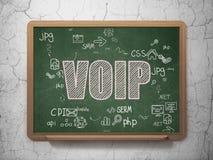 Concetto di sviluppo Web: VOIP sul consiglio scolastico Fotografie Stock