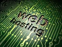 Concetto di sviluppo Web: Web hosting sul fondo del circuito Immagine Stock Libera da Diritti