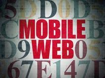 Concetto di sviluppo Web: Web mobile sul fondo della carta di dati di Digital Fotografia Stock Libera da Diritti