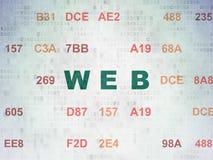 Concetto di sviluppo Web: Web sul fondo della carta di dati di Digital Fotografia Stock