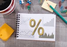 Concetto di tassi di interesse su un blocco note fotografia stock