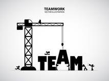 Concetto di team-building di progettazione, illustrazione di vettore Immagini Stock