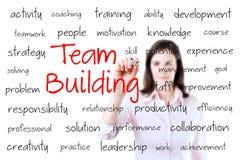 Concetto di team-building di scrittura della mano di affari. Isolato su bianco. Fotografia Stock Libera da Diritti