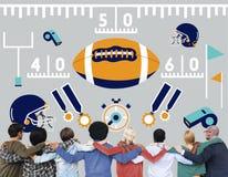 Concetto di Team Field Yard Pumped Sports di football americano Immagini Stock