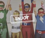 Concetto di Team Kids Heroes Aspiration Goals Fotografia Stock Libera da Diritti