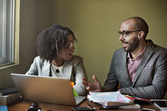 Concetto di Team Partner Business Discussion Communication Immagini Stock