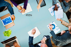 Concetto di Team Planning Board Meeting Strategy di affari di diversità Fotografia Stock Libera da Diritti