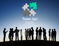 Concetto di Team Up Teamwork Collaboration Togetherness Immagine Stock
