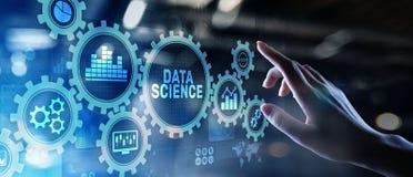 Concetto di tecnologia di affari di analisi di scienza di Big Data sullo schermo virtuale fotografie stock