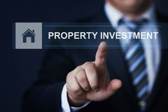 Concetto di tecnologia di affari di Internet del mercato immobiliare della gestione di investimento della proprietà Fotografie Stock