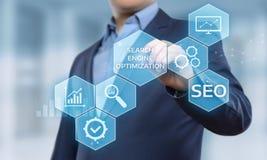 Concetto di tecnologia di affari di Internet del sito Web di traffico del posto di SEO Search Engine Optimization Marketing fotografie stock libere da diritti