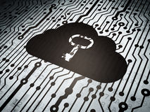 Concetto di tecnologia: circuito con la chiave della nuvola Fotografia Stock