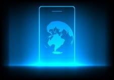 Concetto di tecnologia dei telefoni cellulari e fondo del globo Fotografia Stock