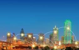 Concetto di tecnologia del collegamento e della rete di Dallas del centro, Te Fotografia Stock