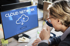 Concetto di tecnologia dell'informazione di dati di registrazione della rete della nuvola fotografia stock libera da diritti