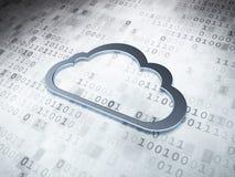 Concetto di tecnologia della nuvola: Nuvola d'argento su digitale fotografia stock libera da diritti