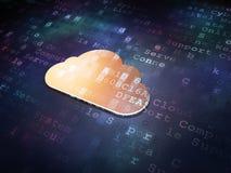 Concetto di tecnologia della nuvola: Nuvola dorata su digitale Fotografia Stock Libera da Diritti