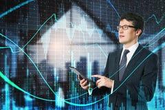 Concetto di tecnologia, della rete e di finanza immagine stock libera da diritti