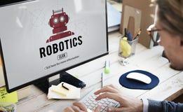 Concetto di tecnologia dello strumento del macchinario di robotica fotografie stock