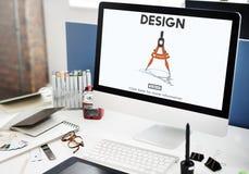 Concetto di tecnologia di ingegneria di architettura della bussola di progettazione Fotografia Stock