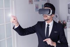 concetto di tecnologia di visione 3d, vetri virtuali Immagine Stock