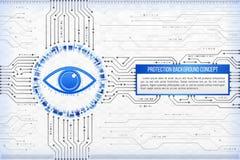 Concetto di tecnologia digitale di fondo con un occhio FAS moderno illustrazione di stock