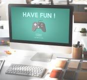 Concetto di tecnologia digitale di hobby di divertimento di spettacolo di gioco Fotografia Stock