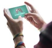 Concetto di tecnologia digitale di hobby di divertimento di spettacolo di gioco Immagini Stock Libere da Diritti