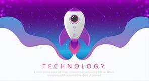 Concetto di tecnologia digitale Rocket Flying da terra a spazio illustrazione di stock