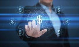 Concetto di tecnologia di finanza di attività bancarie di affari di valuta del dollaro immagine stock