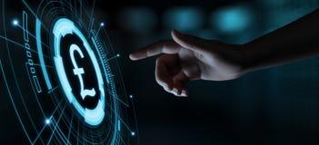 Concetto di tecnologia di finanza di attività bancarie di affari di valuta della libbra immagini stock libere da diritti