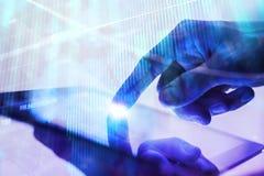 Concetto di tecnologia, di finanza e di informazioni fotografia stock libera da diritti