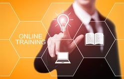 Concetto di tecnologia di Internet di affari di abilità di e-learning di Webinar di addestramento online immagini stock