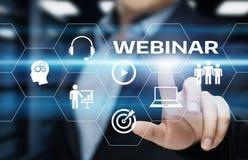 Concetto di tecnologia di Internet di affari di addestramento di e-learning di Webinar Immagini Stock
