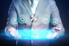 Concetto di tecnologia di Internet di affari L'uomo d'affari sceglie Suppor Fotografie Stock Libere da Diritti