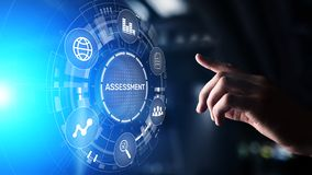 Concetto di tecnologia di misura di valutazione di analisi dei dati di affari di analisi di valutazione fotografie stock libere da diritti