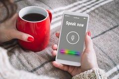 Concetto di tecnologia di ricerca Riconoscimento della voce Intelligenza artificiale fotografie stock