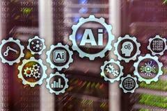 Concetto di tecnologie di affari di ciao-tecnologia di intelligenza artificiale Fondo futuristico della stanza del server ai illustrazione di stock
