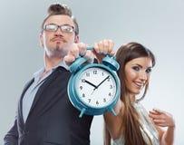 Concetto di tempo con la gente di affari Isolato Immagini Stock