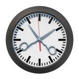 Concetto di tempo del parrucchiere Fronte di orologio con le forbici, rappresentazione 3D illustrazione di stock